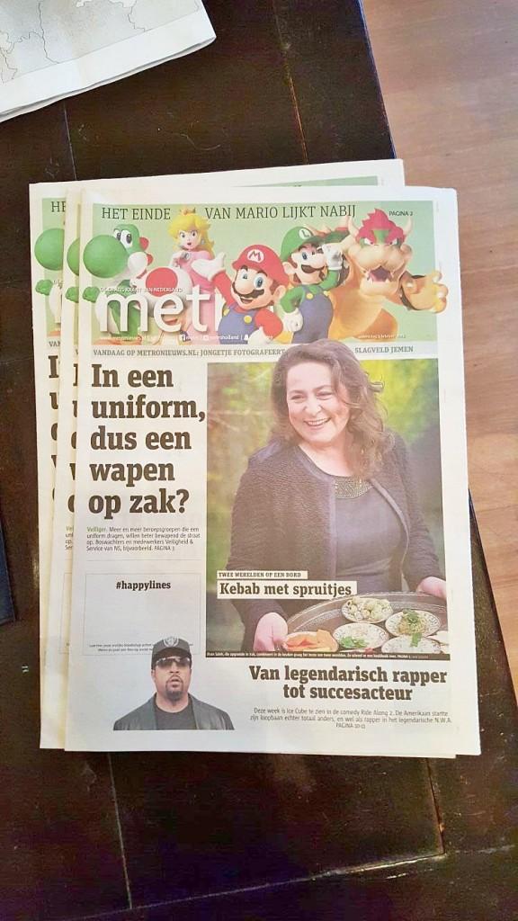 Voorpagina Metro boeklancering Kebab met Spruitjes